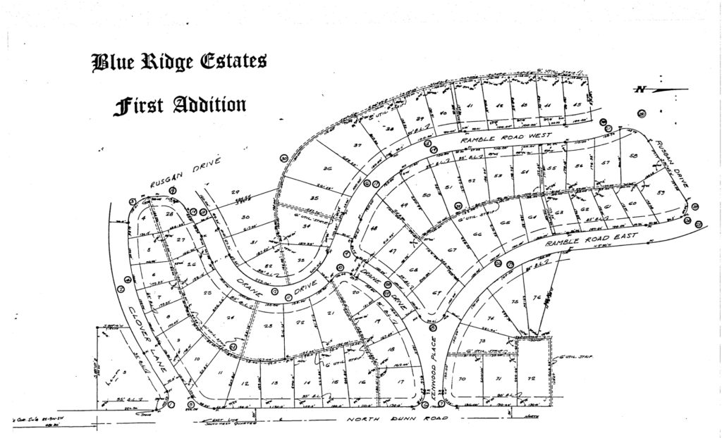 Layout of the First Addition houses in Blue Ridge